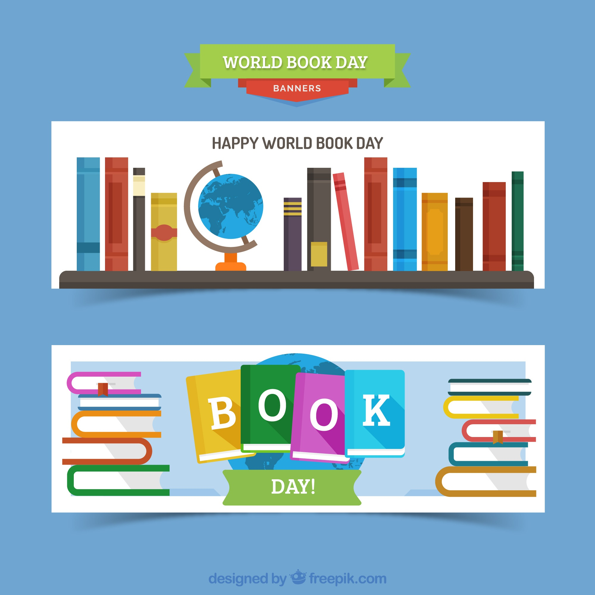 Happy book day banners in flat design