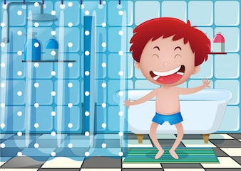 Happy boy in bathroom