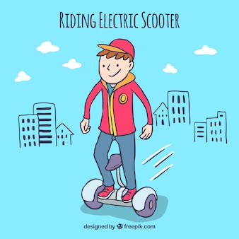 Happy boy with electric scooter