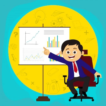 Happy businessman explaining business idea or plans through presentation.