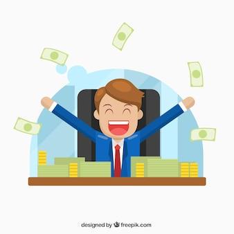 Happy businessman with money