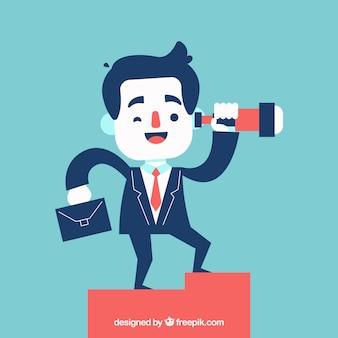 Happy businessman with telescope