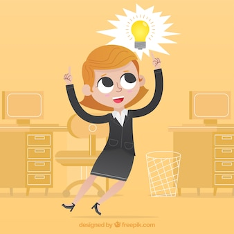 Happy businesswoman having a good idea