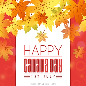 Happy canada day background with dry leaves