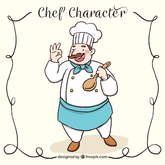 Happy chef character with wooden spoon