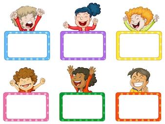 Happy children and white boards illustration