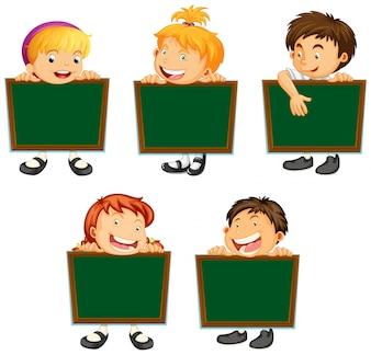 Happy children holding green boards illustration
