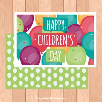 Happy children's day card with colorful balloons