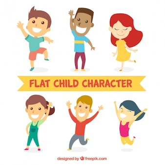 Happy children set