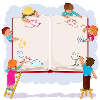 Happy children together draw on a large sheet of book