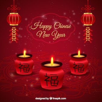 Happy chinese new year candles background