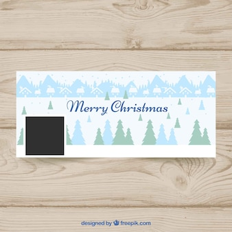 Happy christmas cover with pines