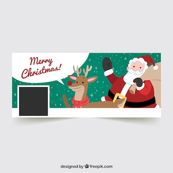 Happy christmas cover with santa claus and reindeer