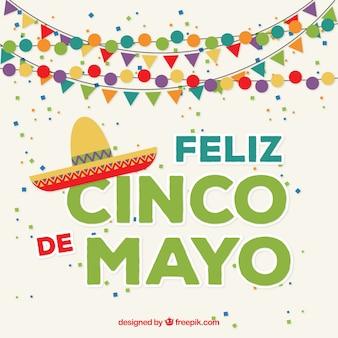 Happy cinco de mayo background with garlands