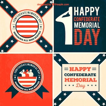 Happy confederate memorial day cards pack