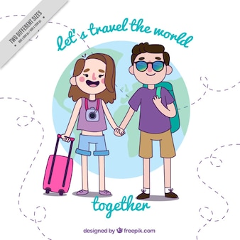 Happy couple ready to travel background