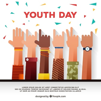 Happy day youth background with hands and confetti