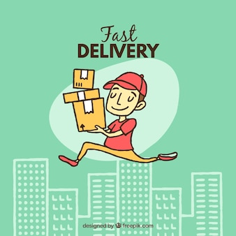 Happy delivery man with hand drawn style