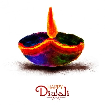 Happy diwali background with colorful candle