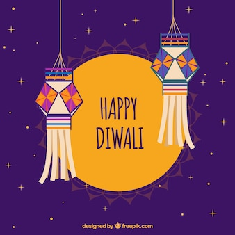 Happy diwali background with decorative lanterns