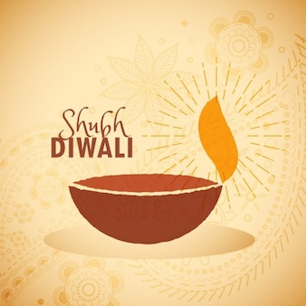 Happy diwali background with hand-drawn candle