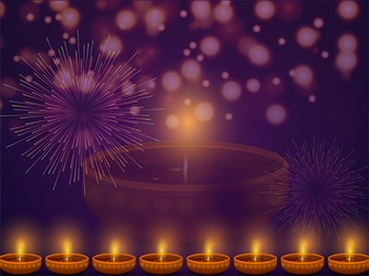 Happy Diwali background with illuminated Oil Lamps.