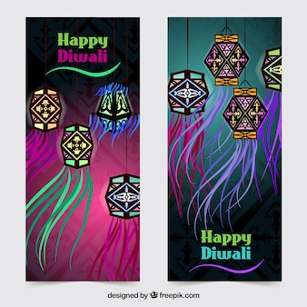 Happy diwali banners with decorative lanterns