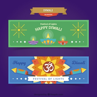 Happy diwali banners with lamps and rockets