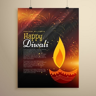 Happy diwali brochure with a candle