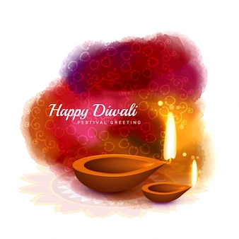 Happy diwali card in watercolor style