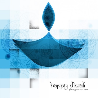 happy diwali card squared in blue