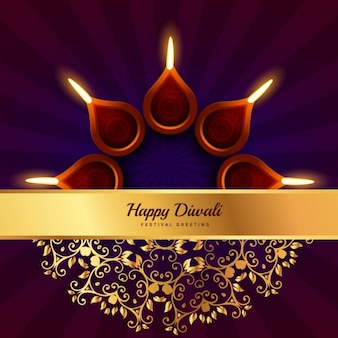 Happy diwali greeting with golden banner