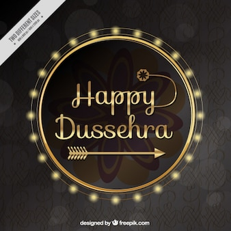 Happy dussehra background with a gold arrow