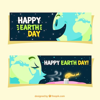 Happy earth day friendly banners