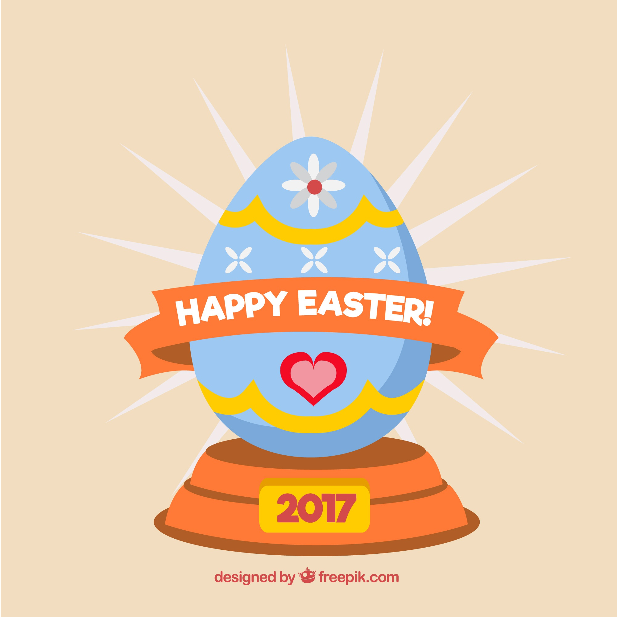 Happy easter background 2017 with decorative egg