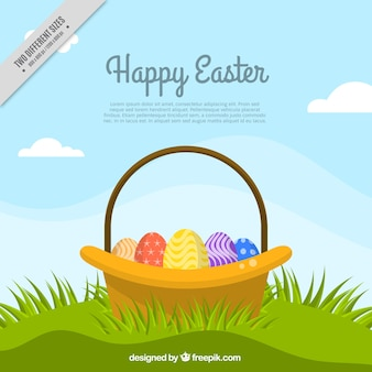 Happy easter background with basket on the grass