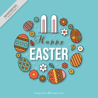 Happy easter background with bunny ears and decorative eggs