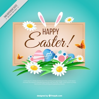 Happy easter background with floral details