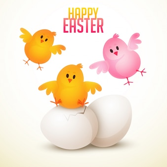 Happy easter background with three lovely chicks