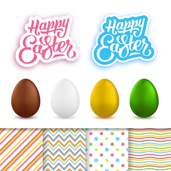 Happy easter collection with eggs and cloth