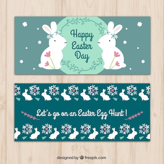 Happy easter decorative banners with bunny