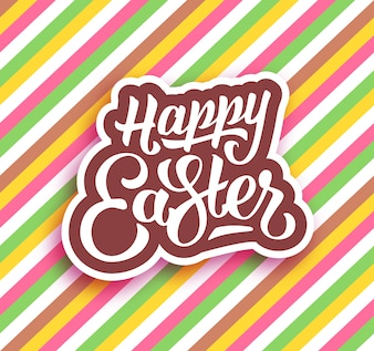 Happy easter on colorful background