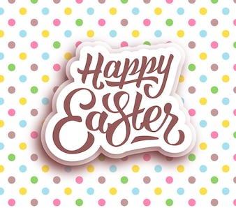 Happy easter on dotted background