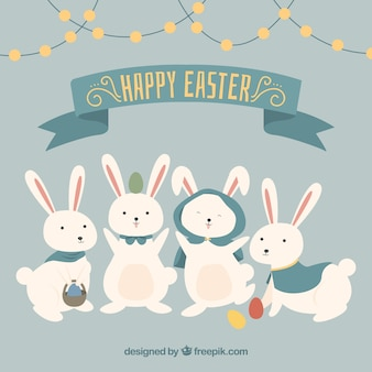 Happy easter with four funny rabbits