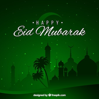 Happy eid mubarak background green design