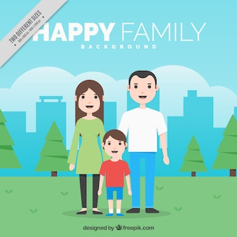 Happy family background in the park