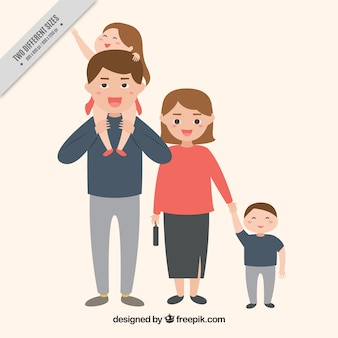 Happy family background with children