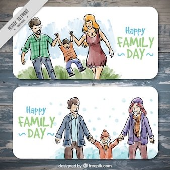 Happy family day banner