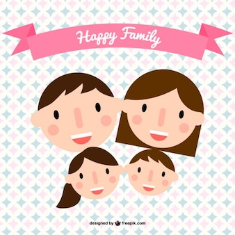 Happy family heads