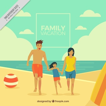 Happy family holiday background on the beach